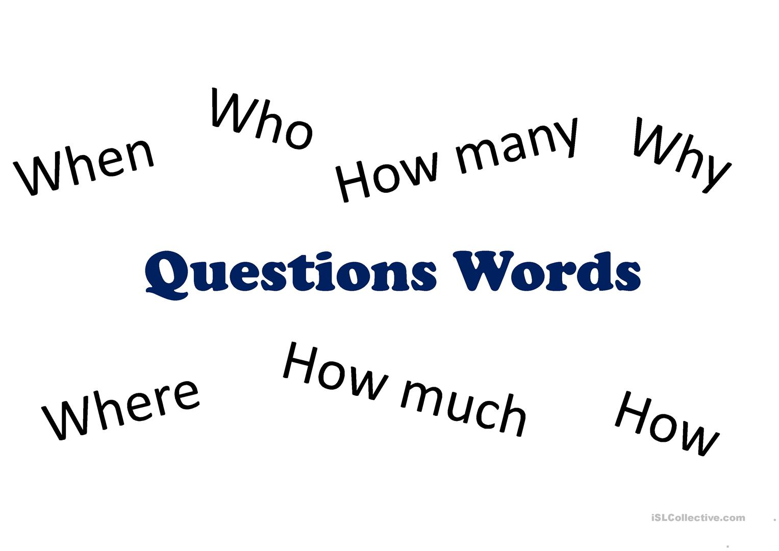 Worksheet On Question Words