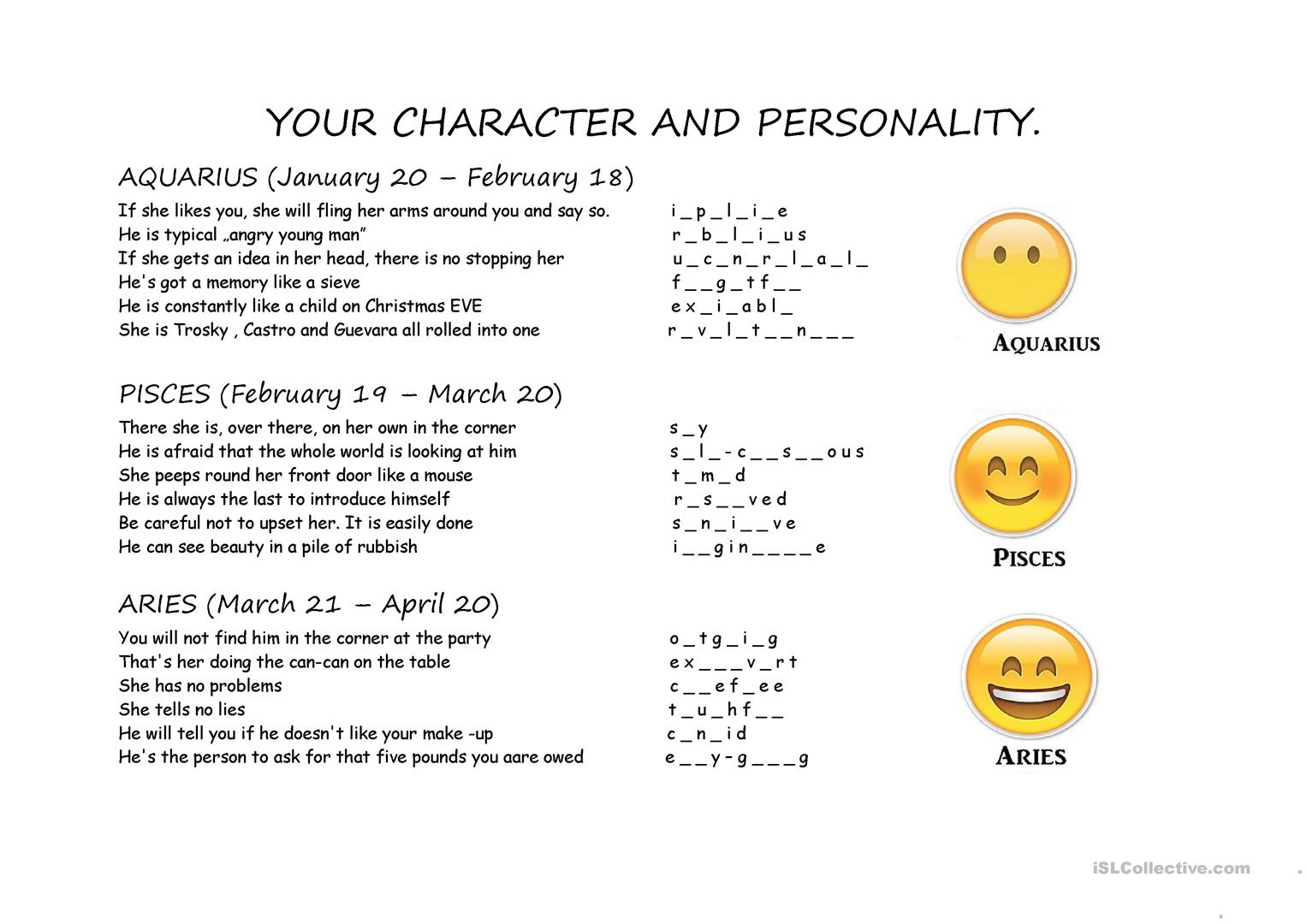 Character And Personality Part 1