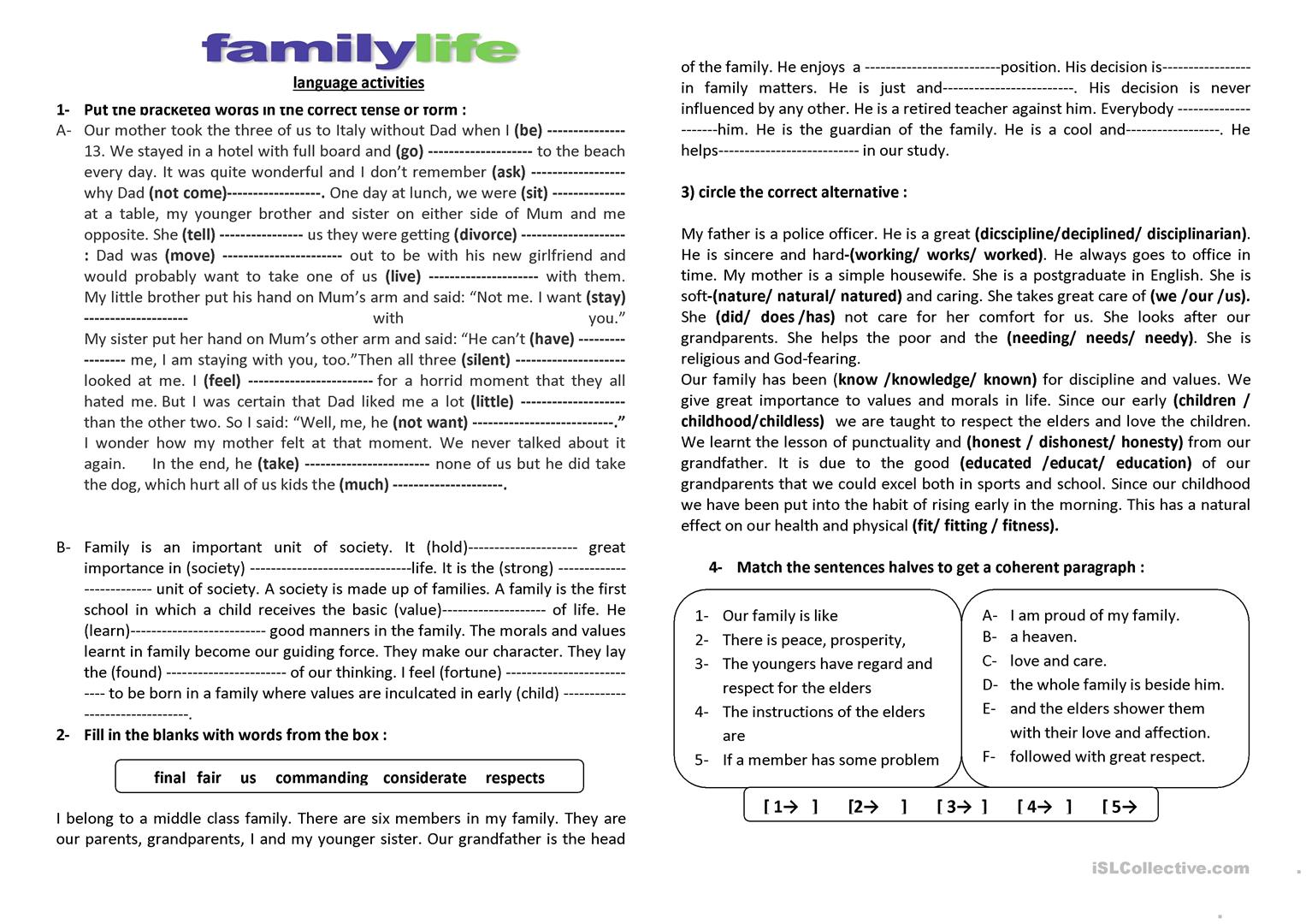 Family Life Language Activities