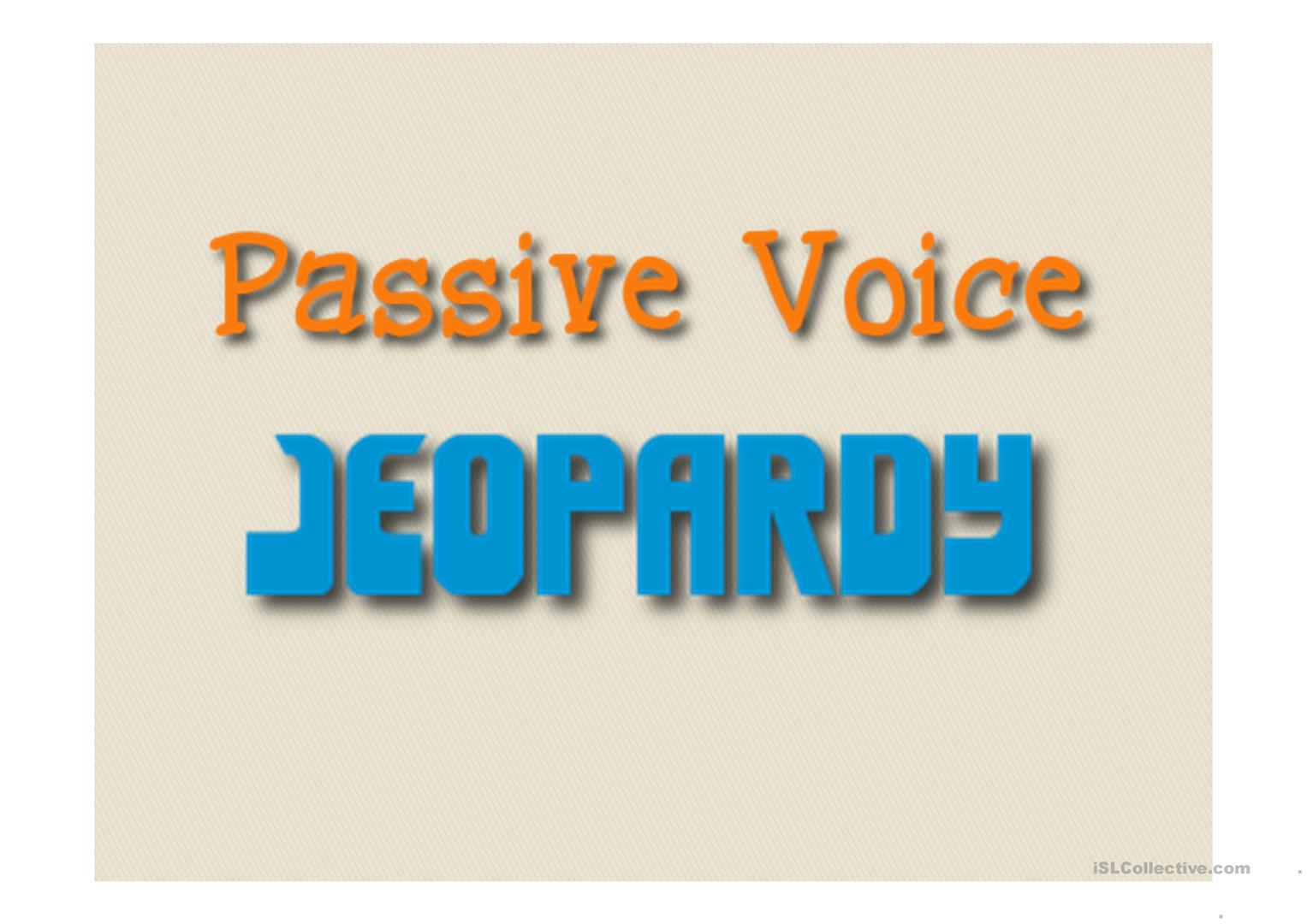Passive Voice Jeopardy Game Worksheet