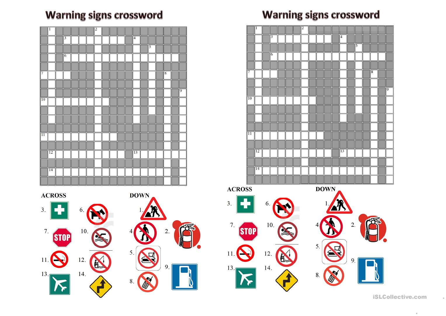 Warnings Crossword