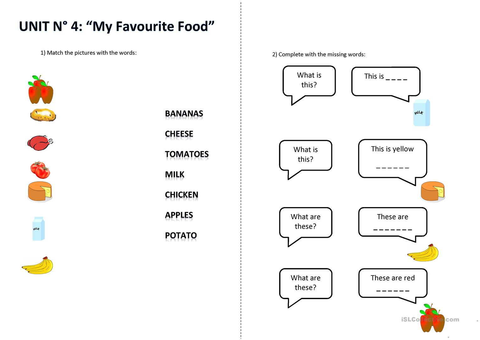 What Is This What Are These Food Items Worksheet
