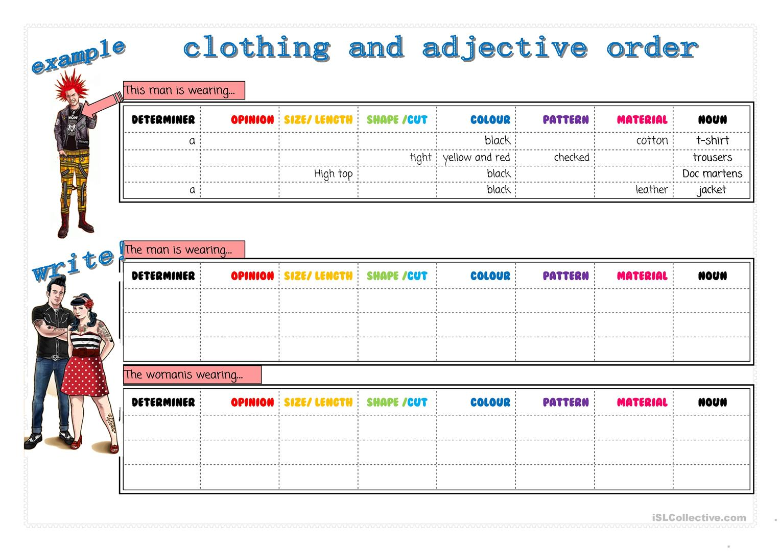 Clothes And Adjective Order