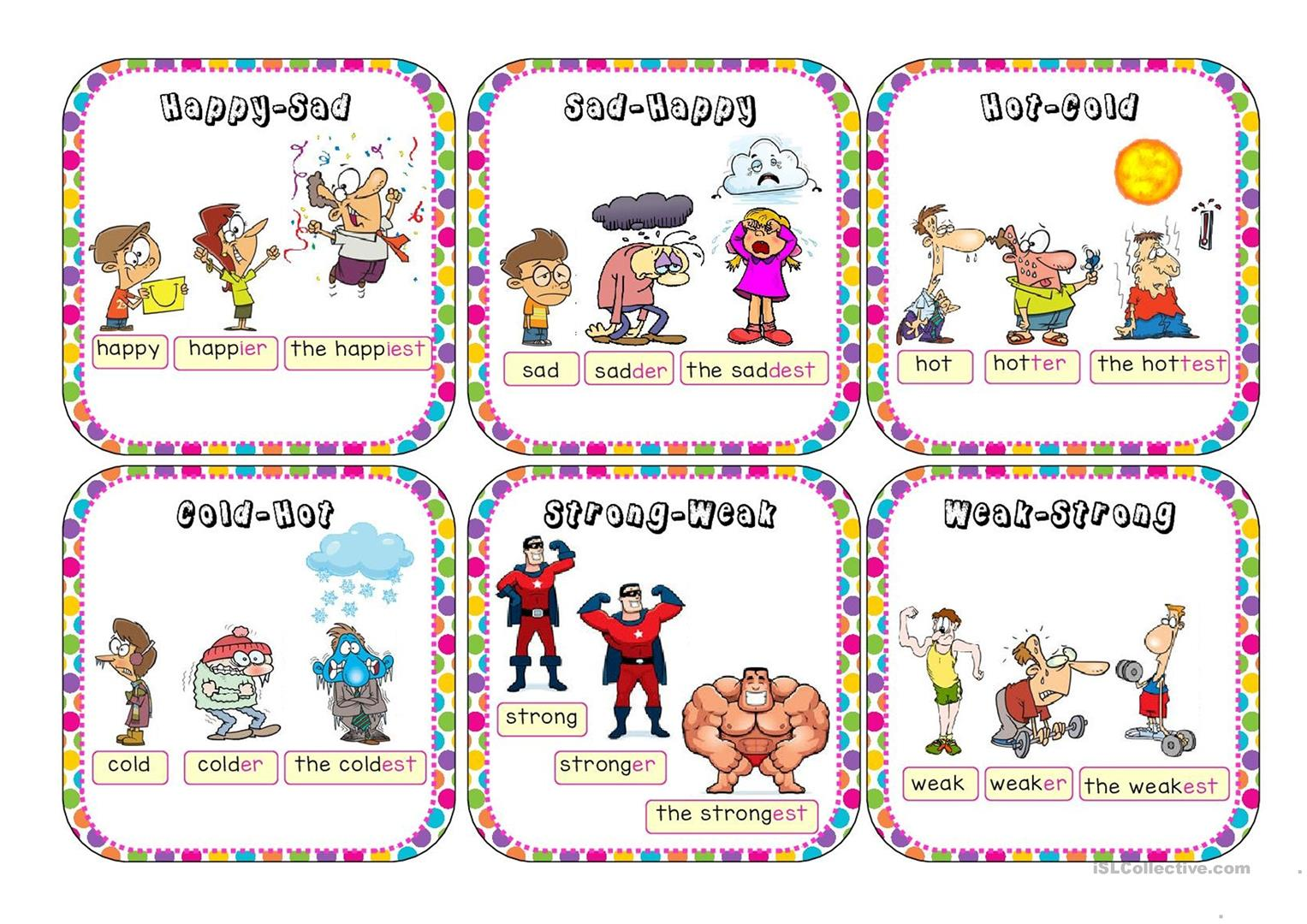 Comparatives And Superlatives Go Fish Worksheet