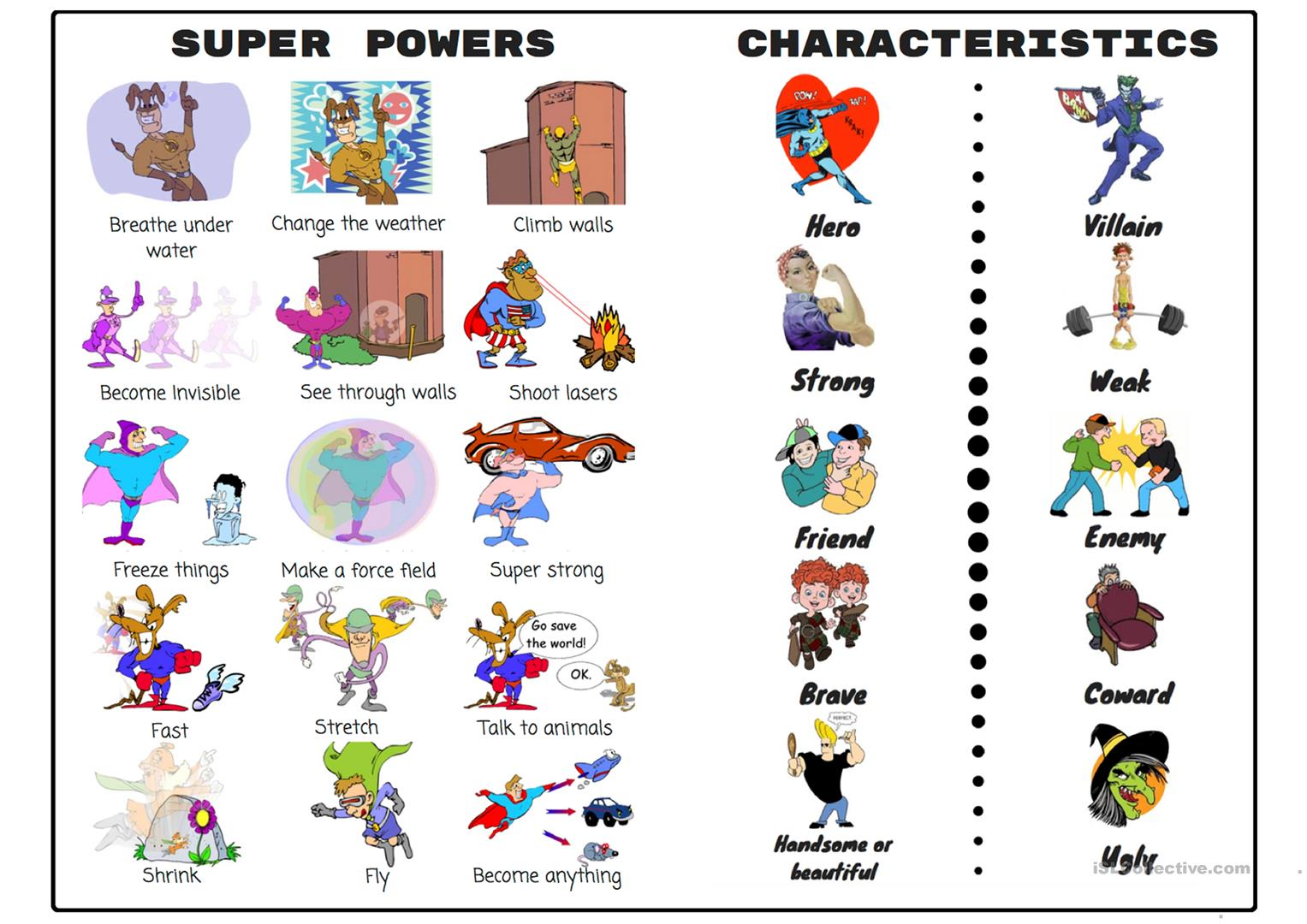 Superheroes Vocabulary Sheet