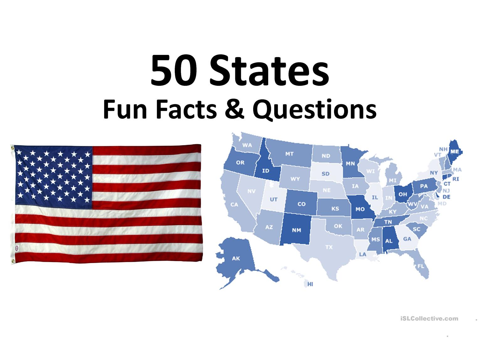 50 States Fun Facts Amp Questions Worksheet