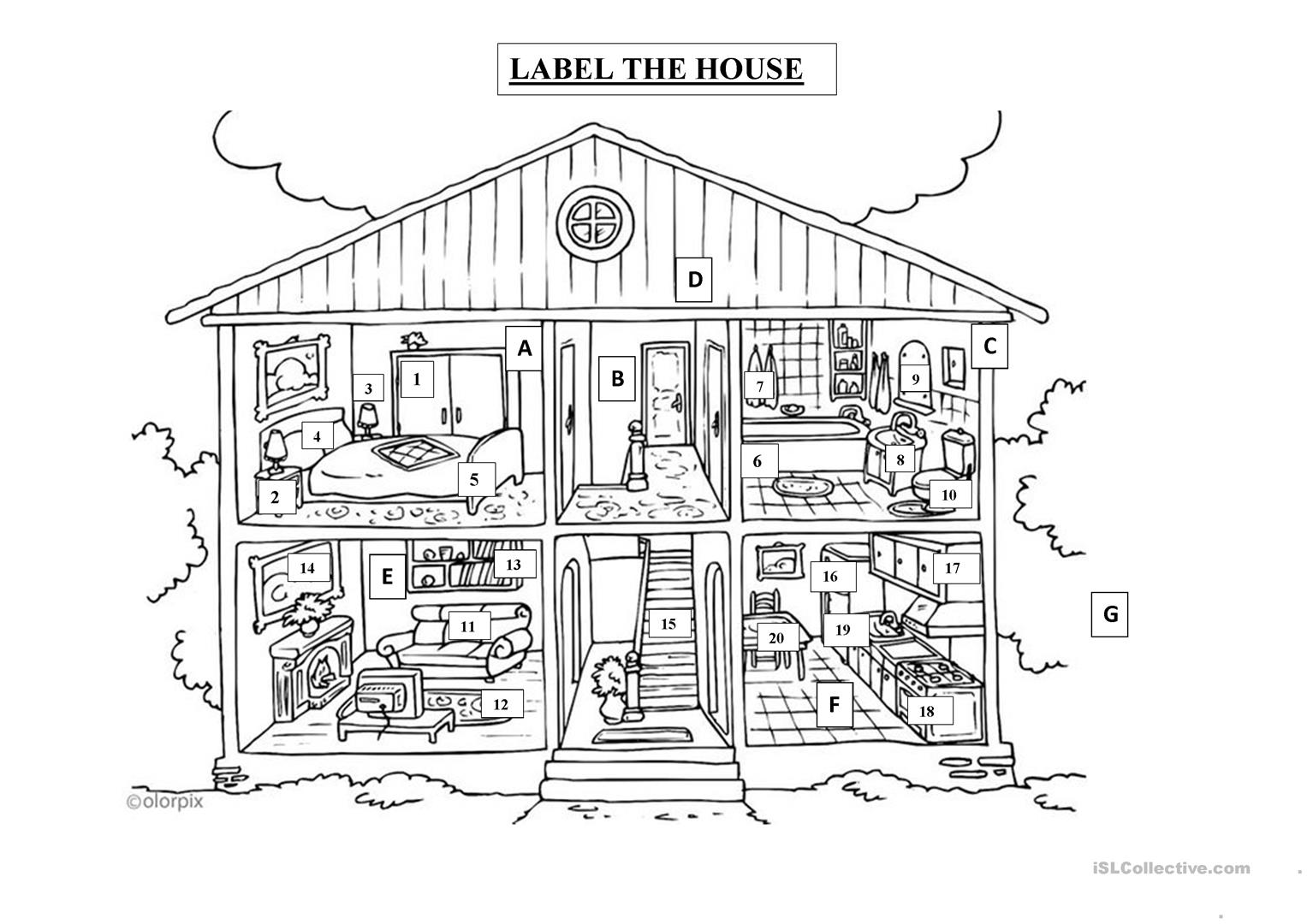 Label The House Worksheet