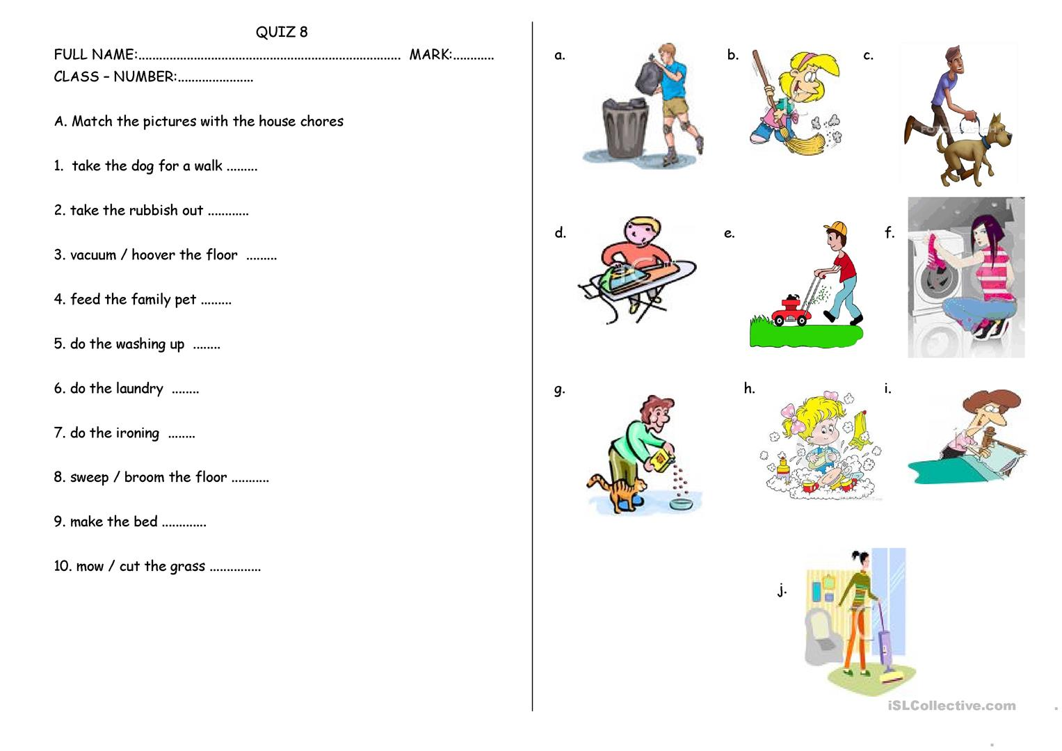 House Chores And School Rules Worksheet