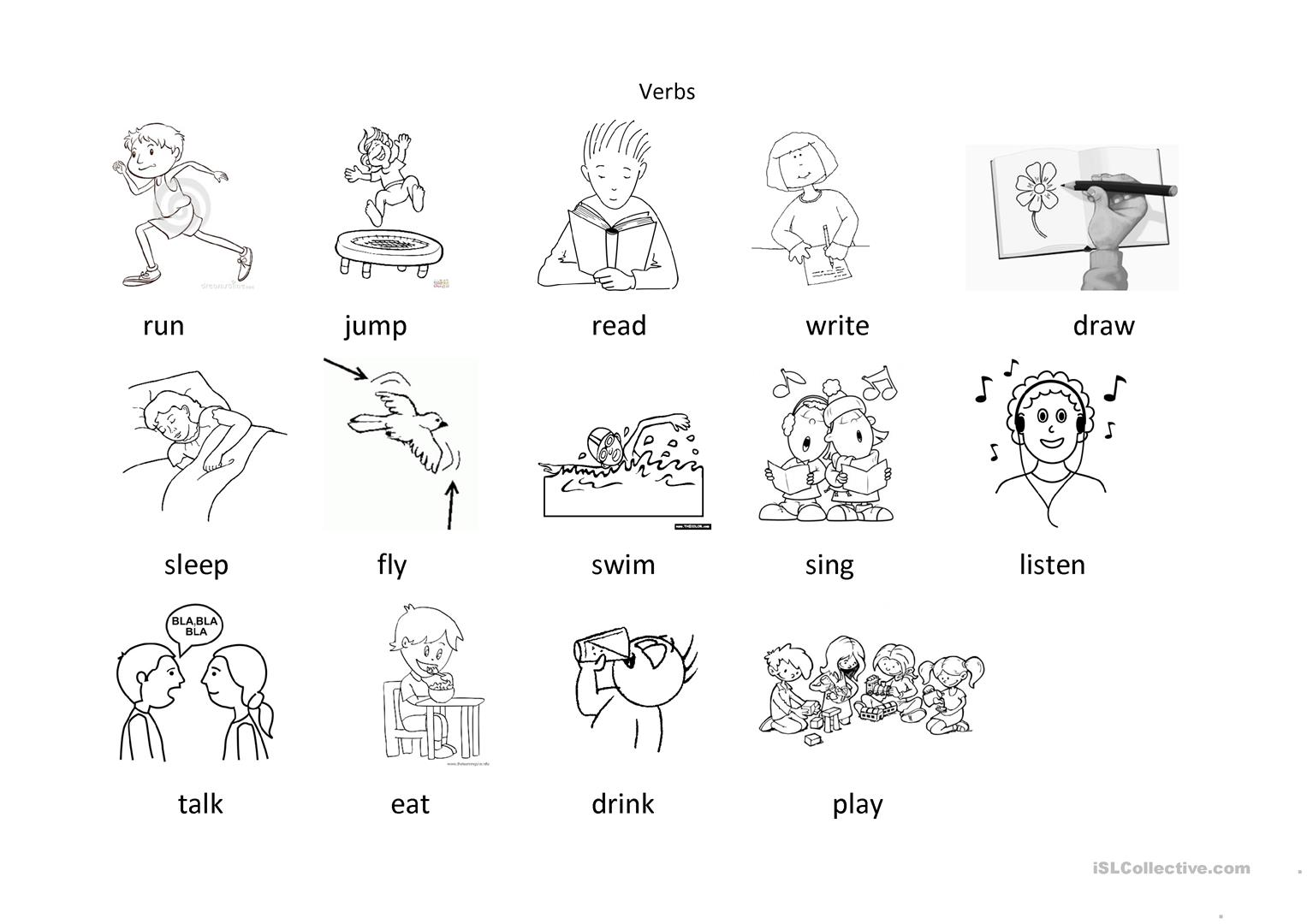 Verbs For Colouring Worksheet