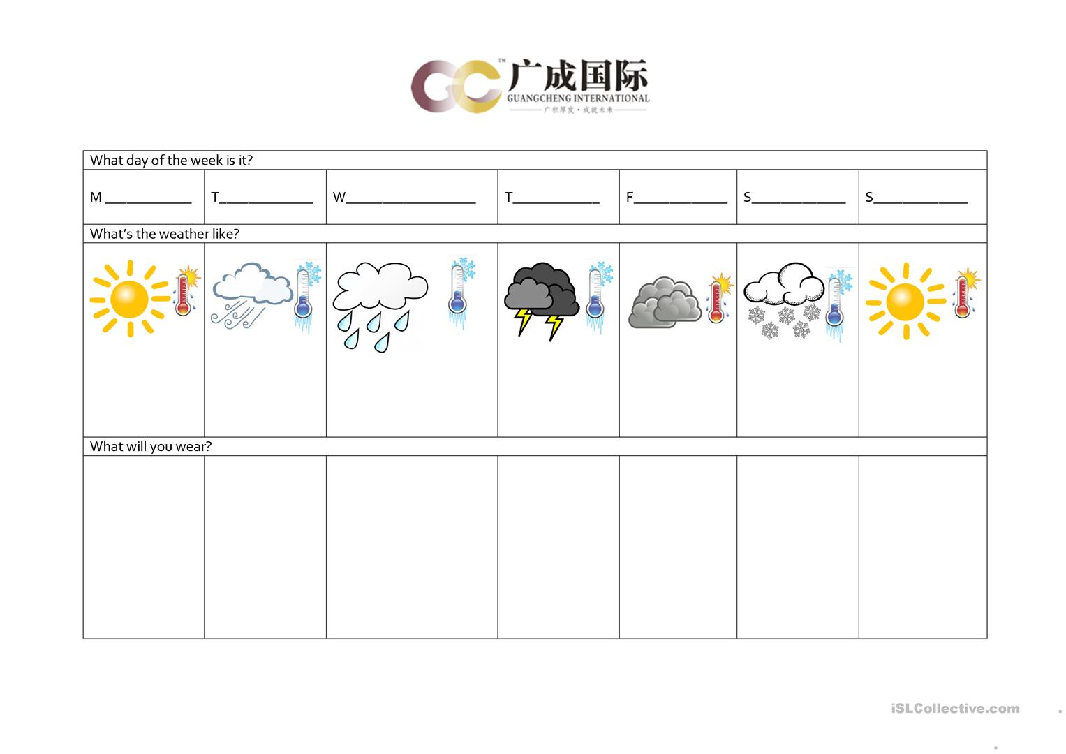 Clothing And Weather Worksheet