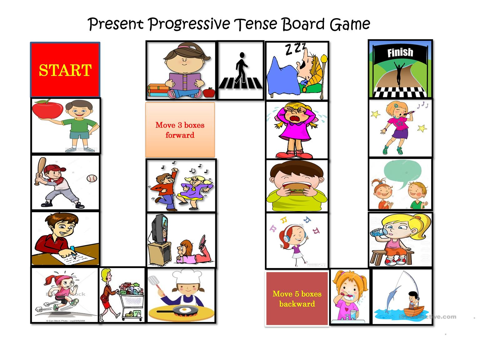 Present Progressive Tense Board Game Worksheet