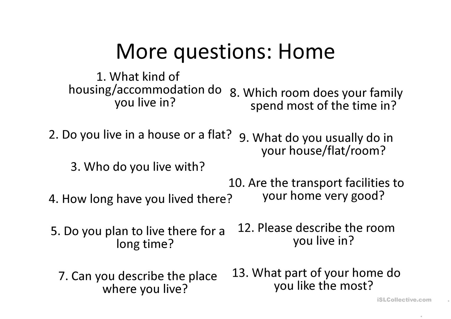 Ielts Speaking Part 1 Home Worksheet