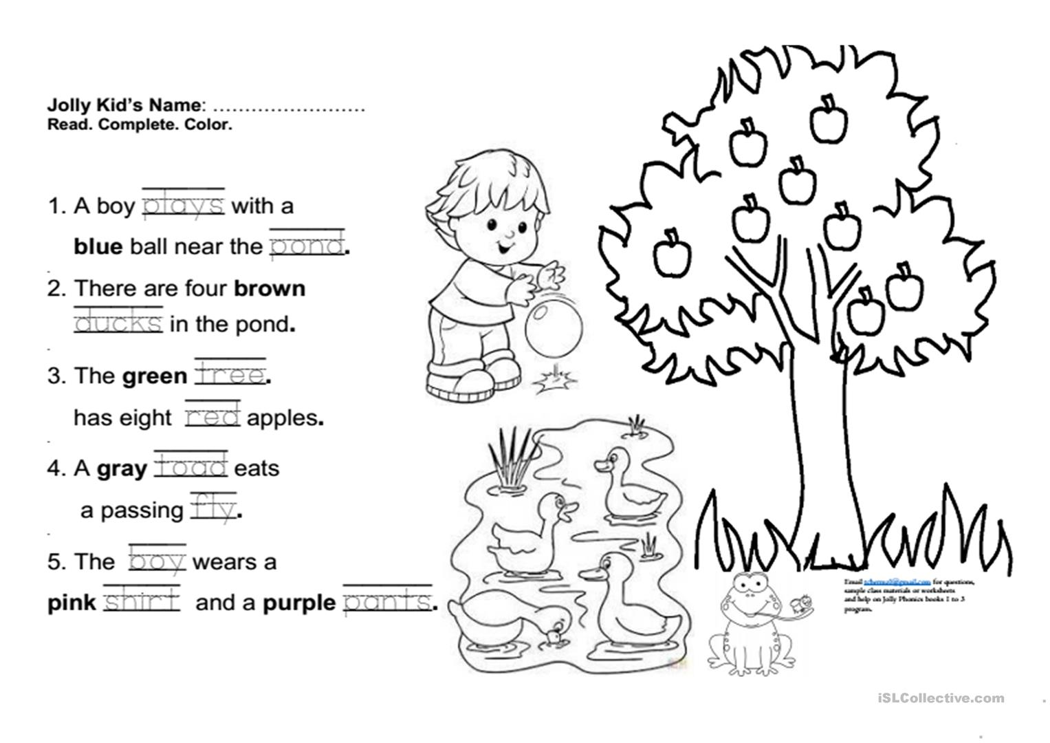Jolly Phonics Book 3 Fun Final Test Worksheet