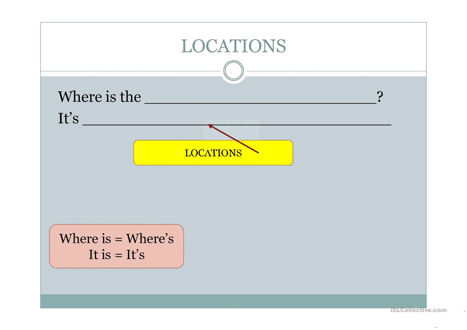 Locations And Directions Worksheet