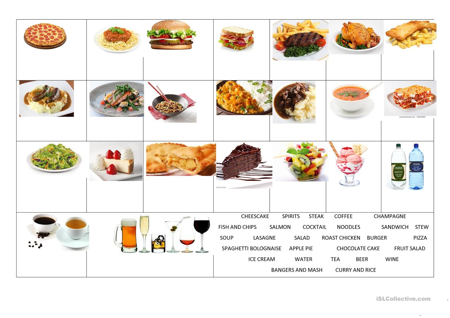 Food Meal Restaurants Vocabulary Worksheet