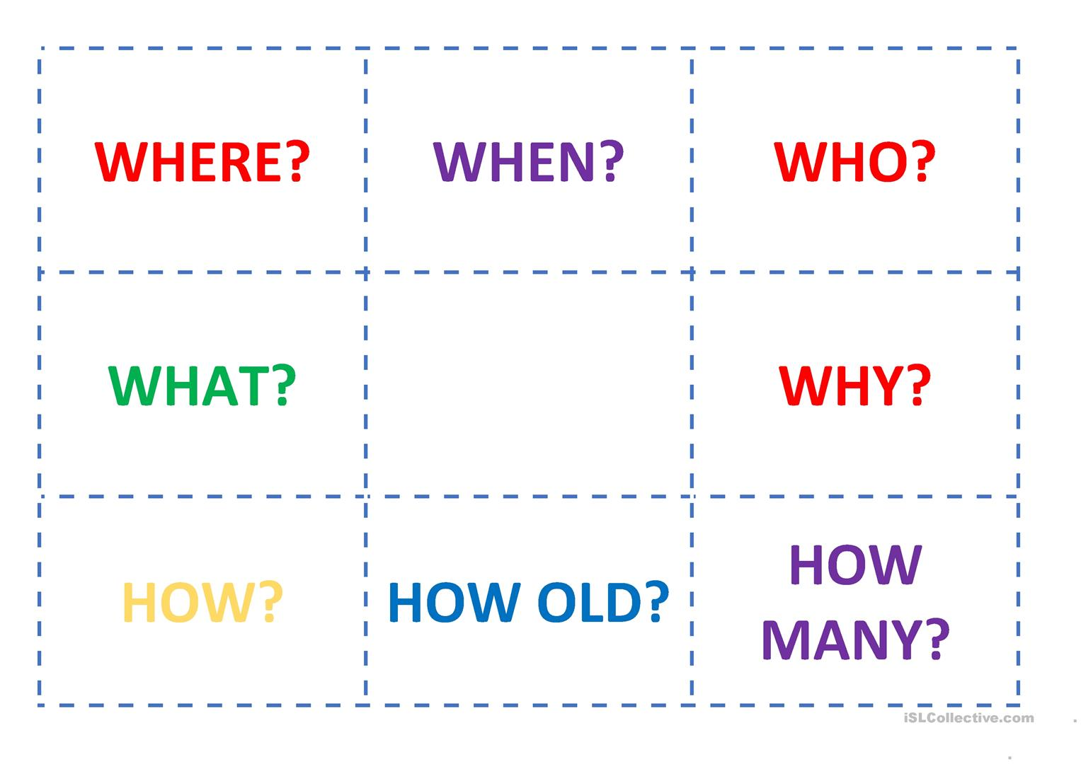 Wh Question Classroom Activity