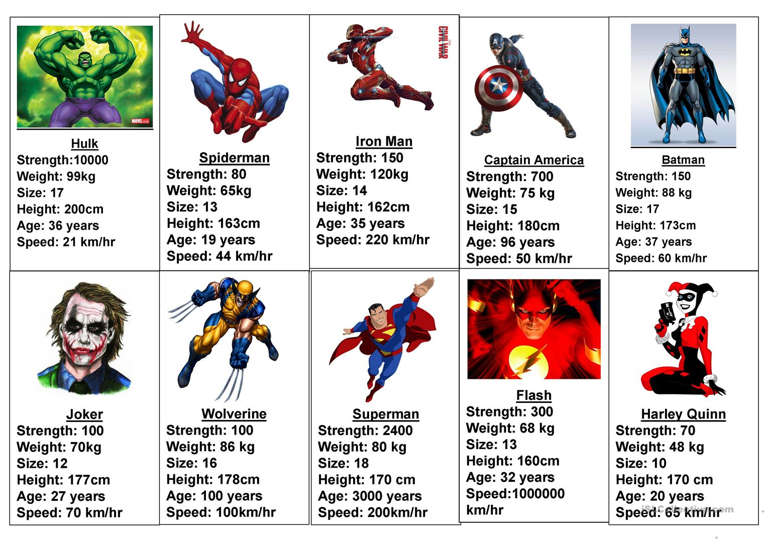 Comparative Superhero Game Worksheet