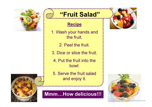 FRUIT SALAD RECIPE - English ESL Powerpoints for distance learning