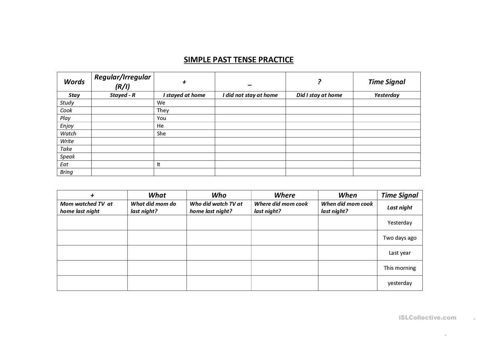 Simple Past Tense Table Practice