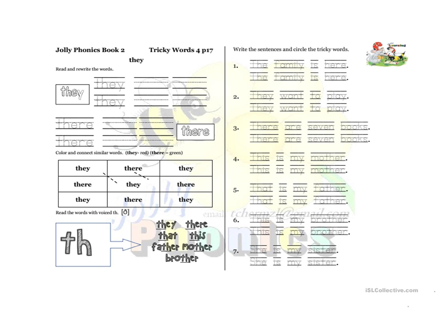 Jolly Phonics 2 Tricky Words Page 17 Worksheet