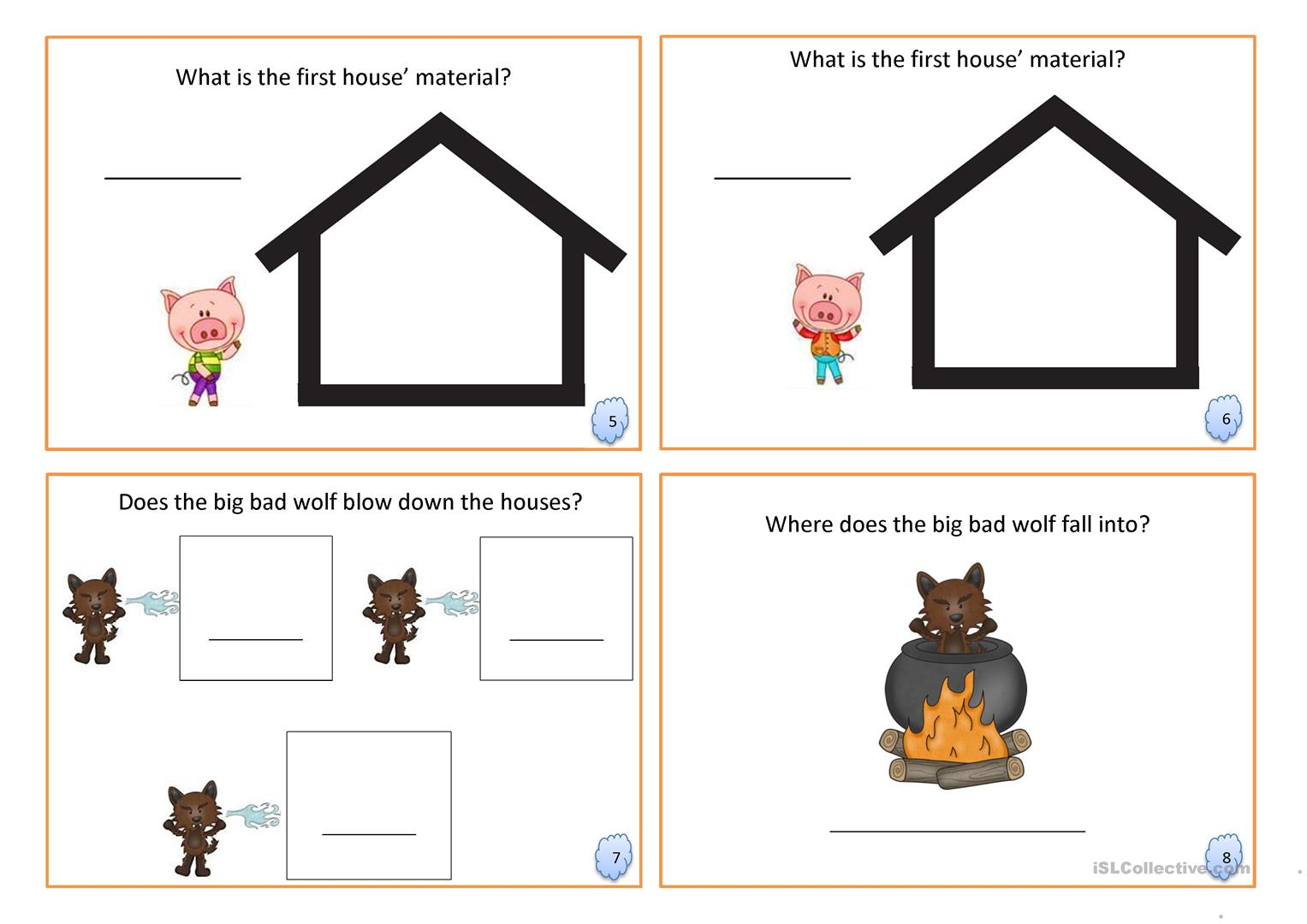 Three Little Pigs Book Fairy Tale Worksheet