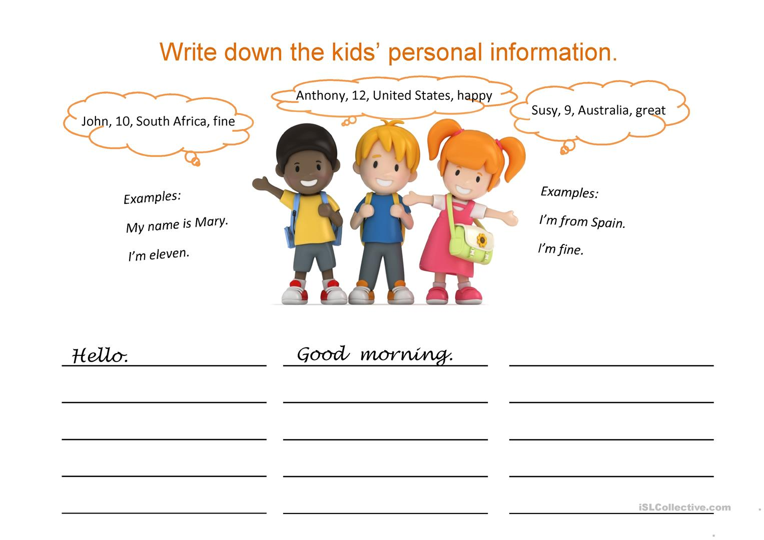 Writing Personal Information Name Country Age Worksheet