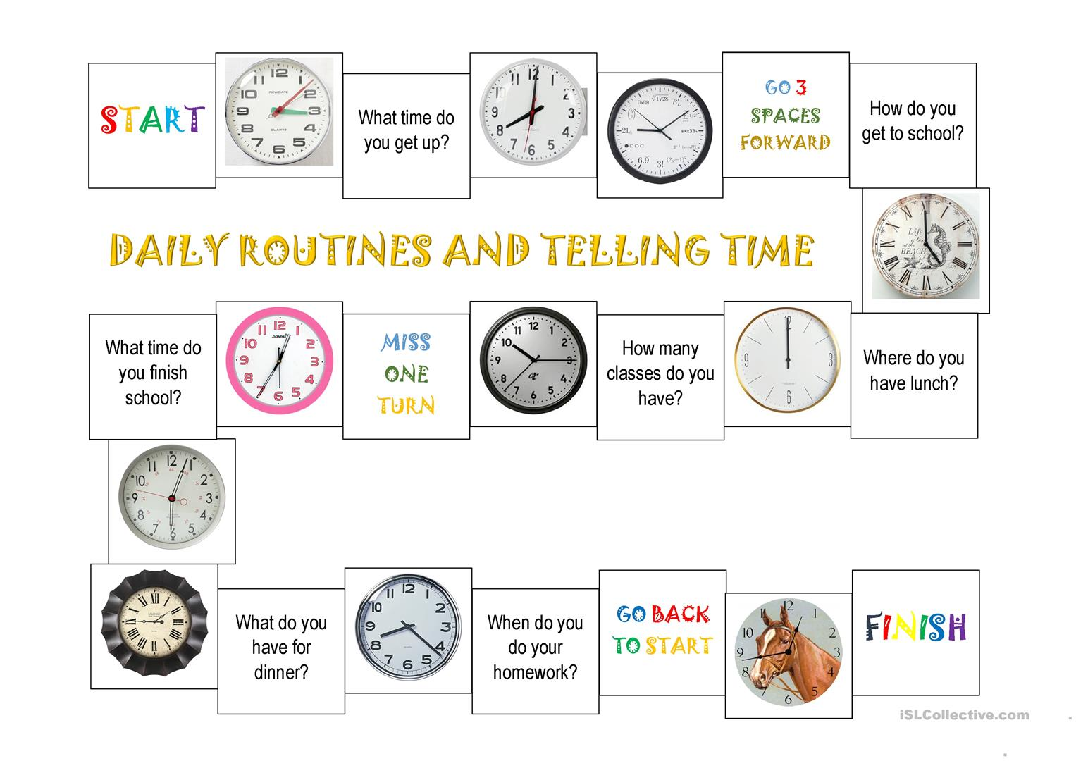 Daily Routines And Telling Time Worksheet