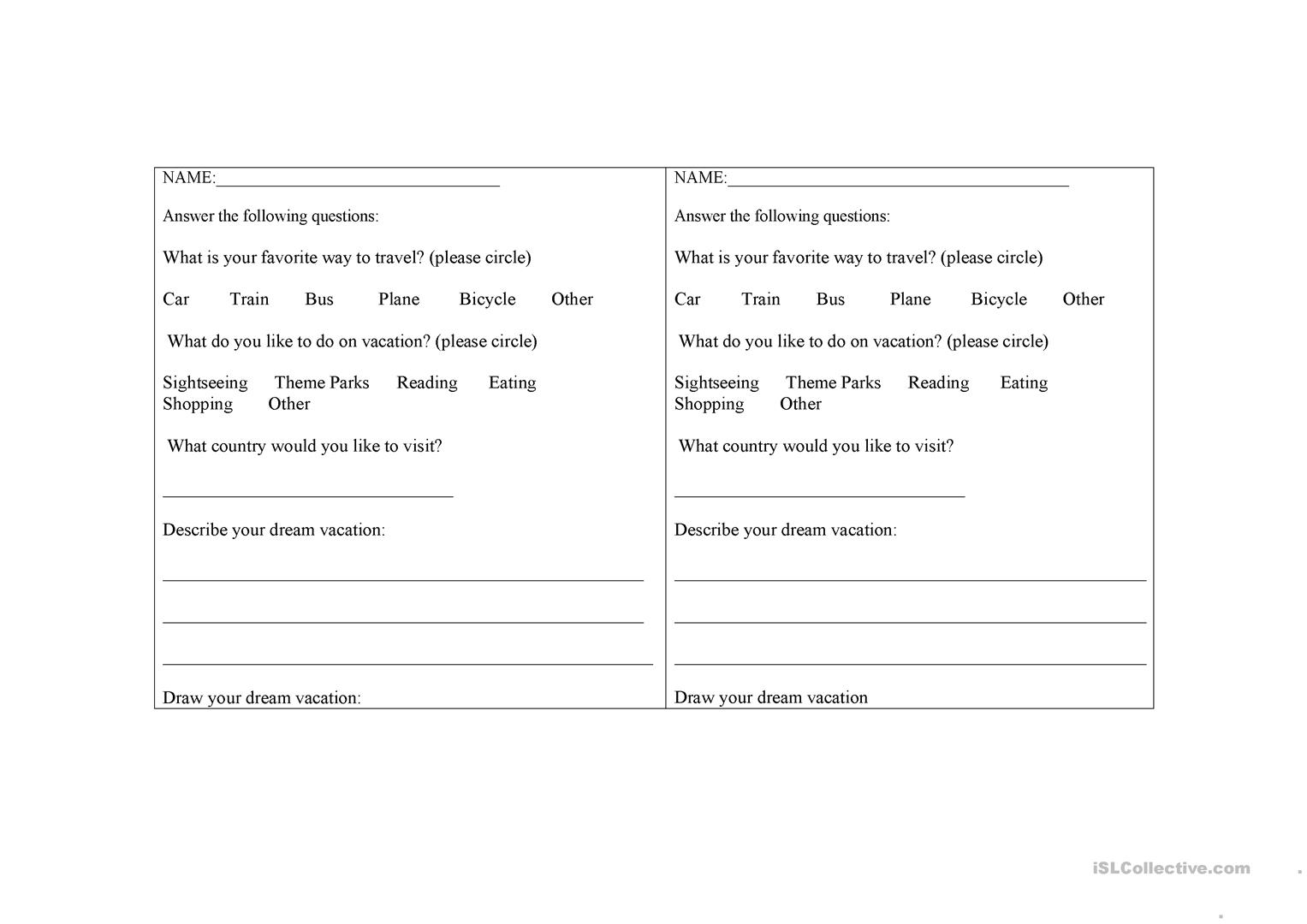Vacations Worksheet