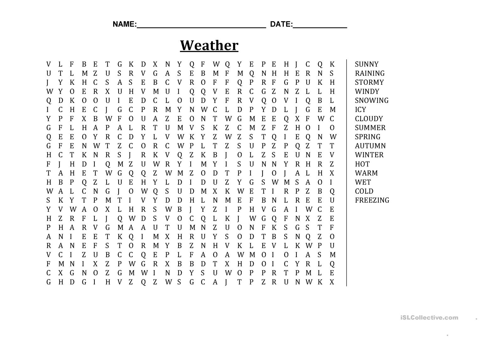 Weather Word Search Basic