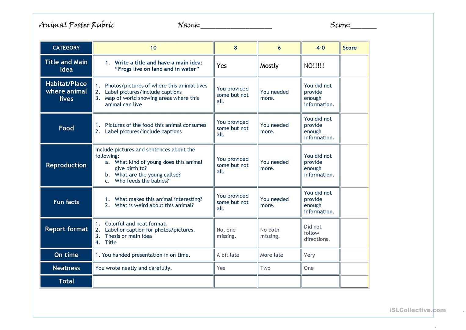 Rubric For Animal Poster Elementary Or Low Intermediate