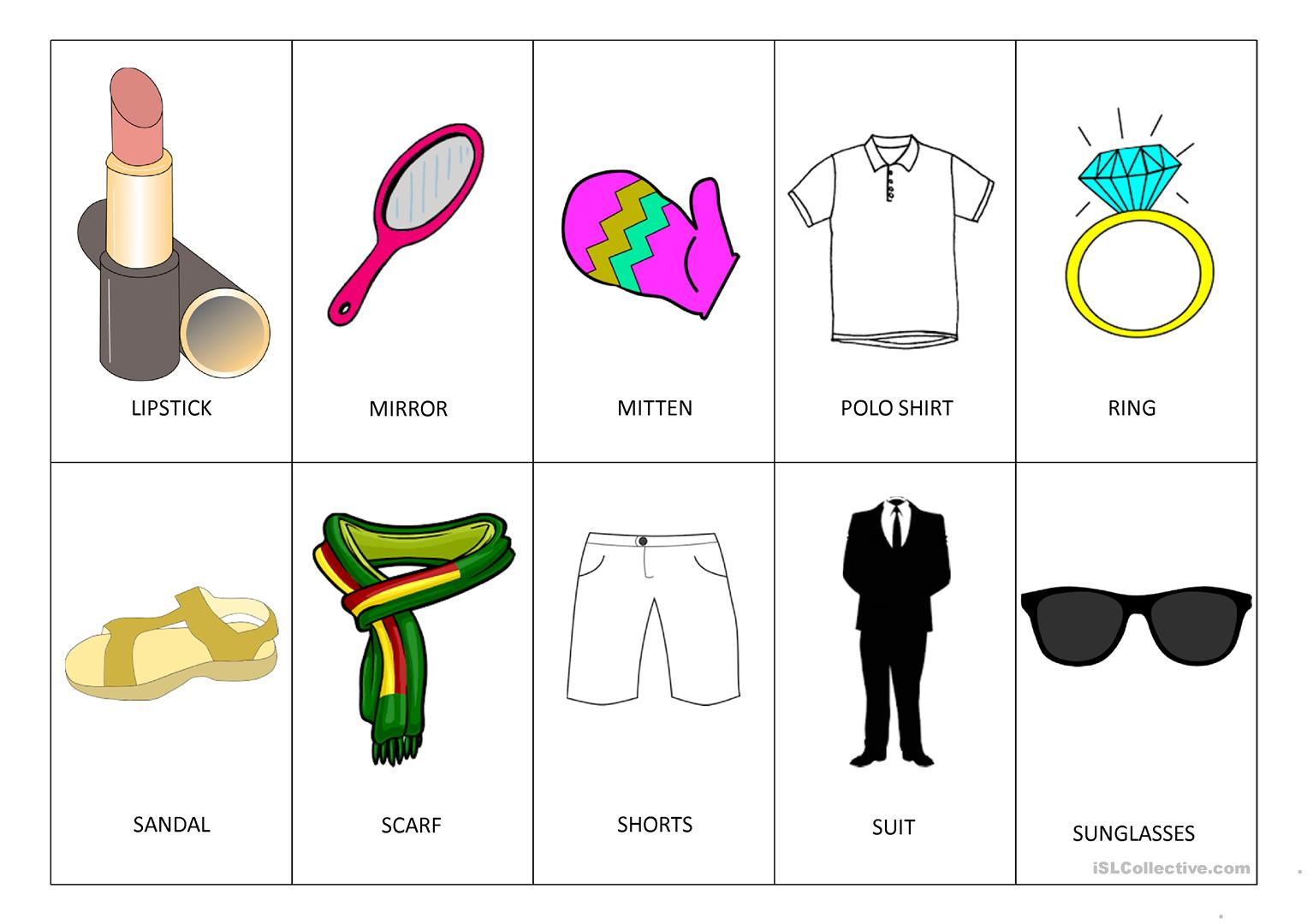 Clothes Memory Game Worksheet