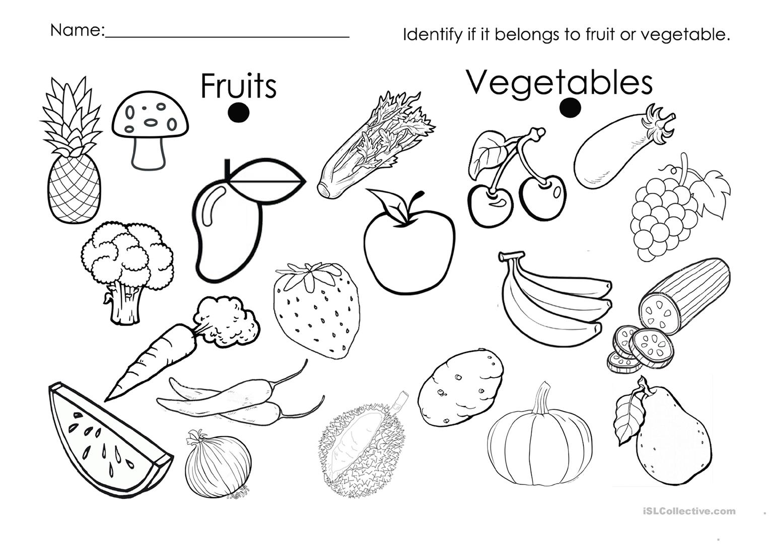Fruit Or Vegetable Worksheet