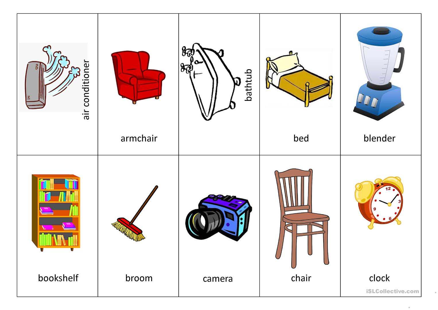 Furniture Memory Card Game Worksheet