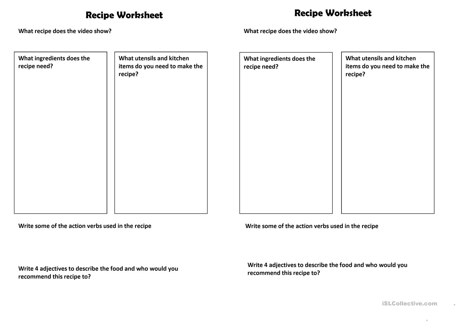 Recipe Video Or Reading Basic Question Worksheet