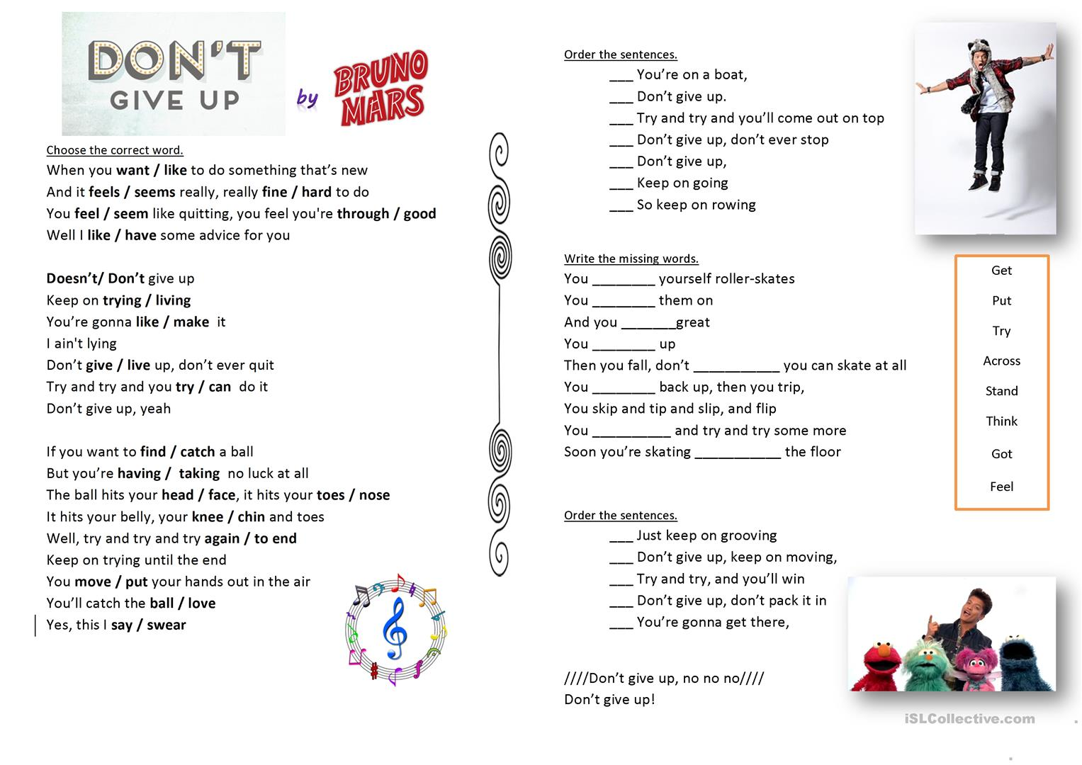 Don T Give Up By Bruno Mars Song Worksheet