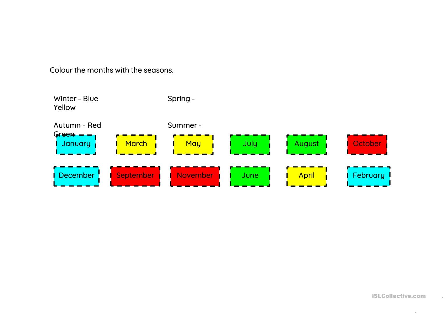 Months Of The Year With Seasons Worksheet
