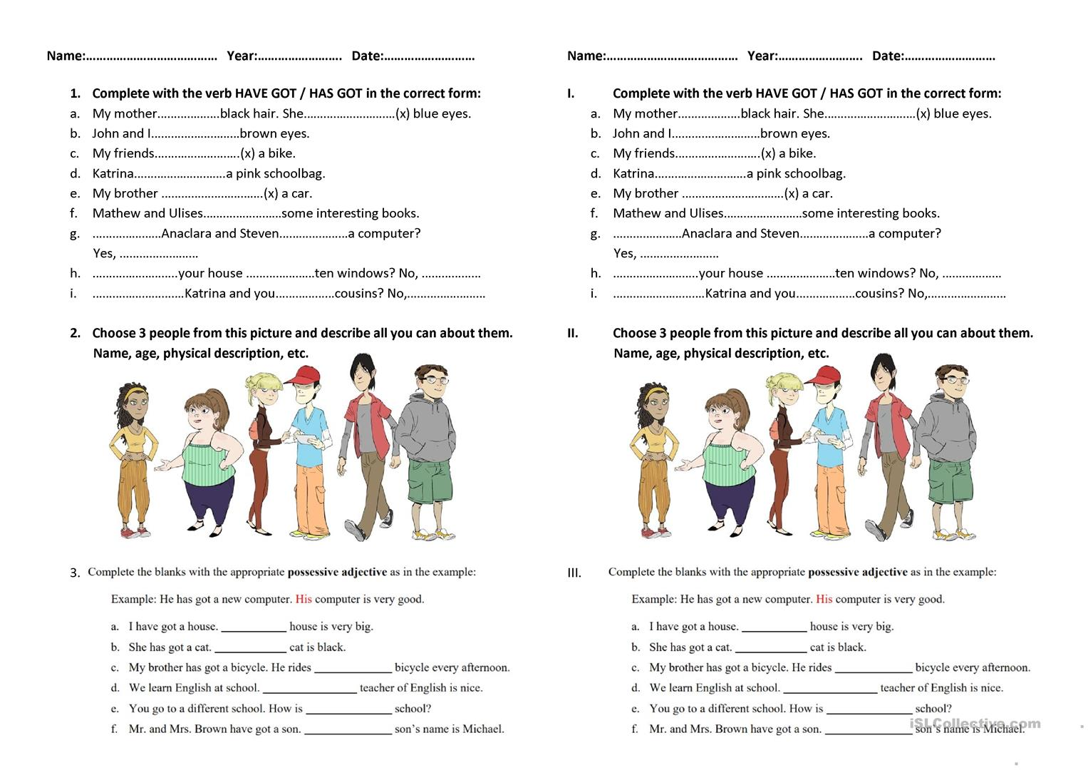 Have Got And Has Got Worksheet