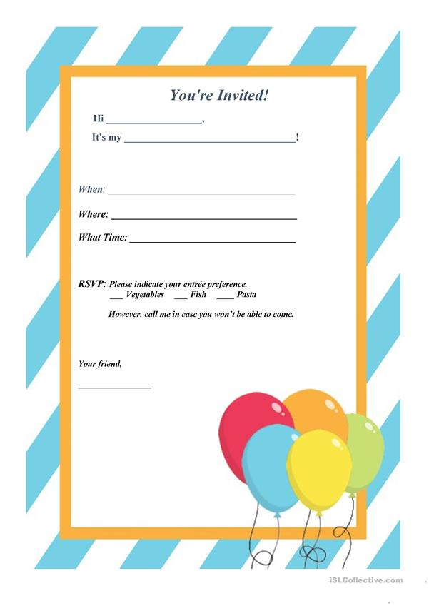 invitation letter party english esl