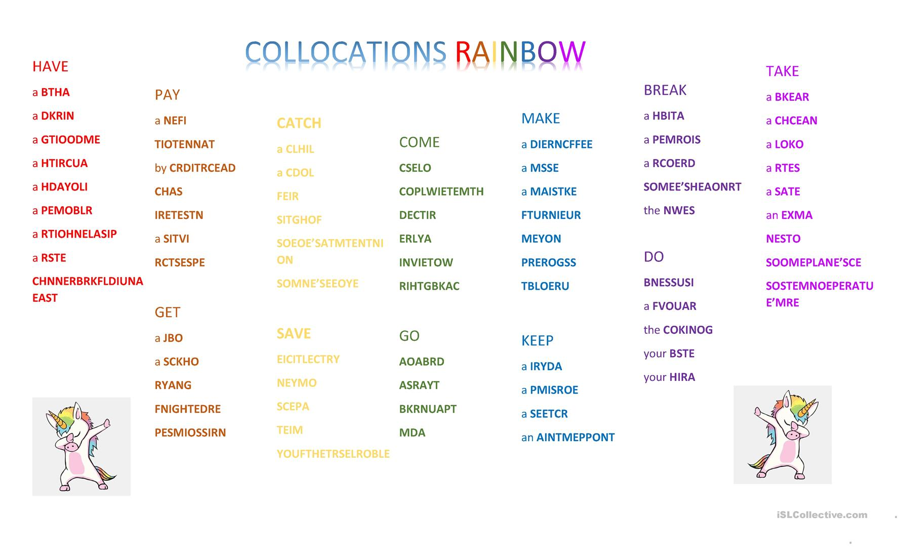 Collocations Rainbow