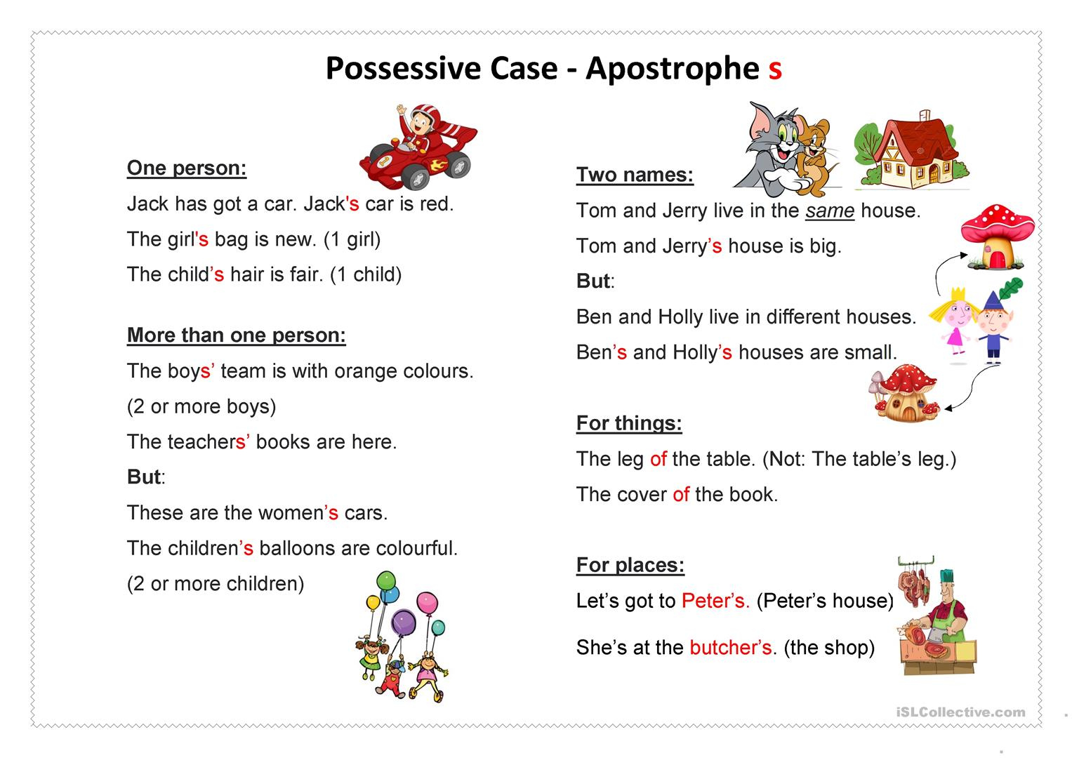Possessive Case Apostrophe S Worksheet