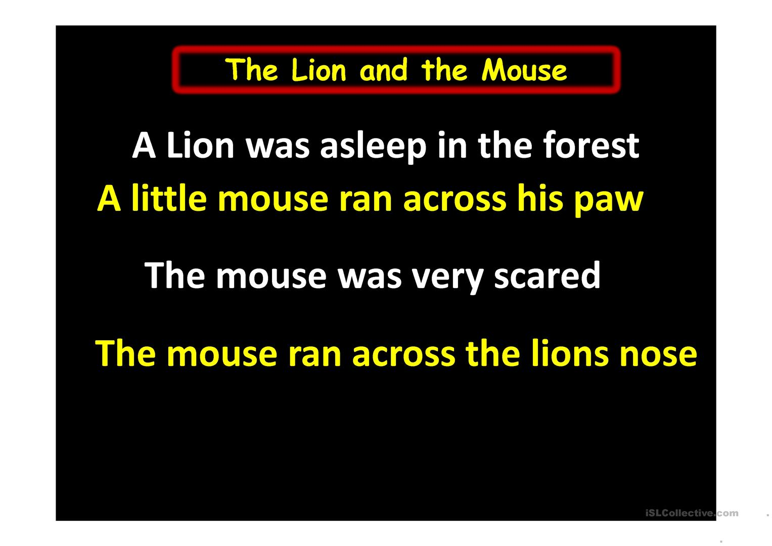 The Lion And The Mouse Grade 2 And 3 Worksheet