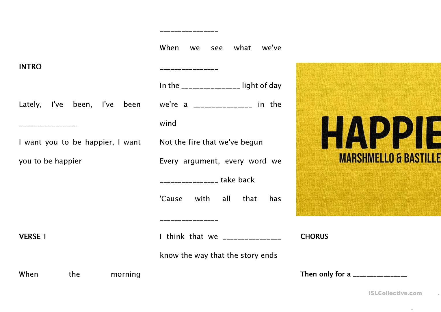 Happier By Bastille Marshmello Song Gap Fill Worksheet