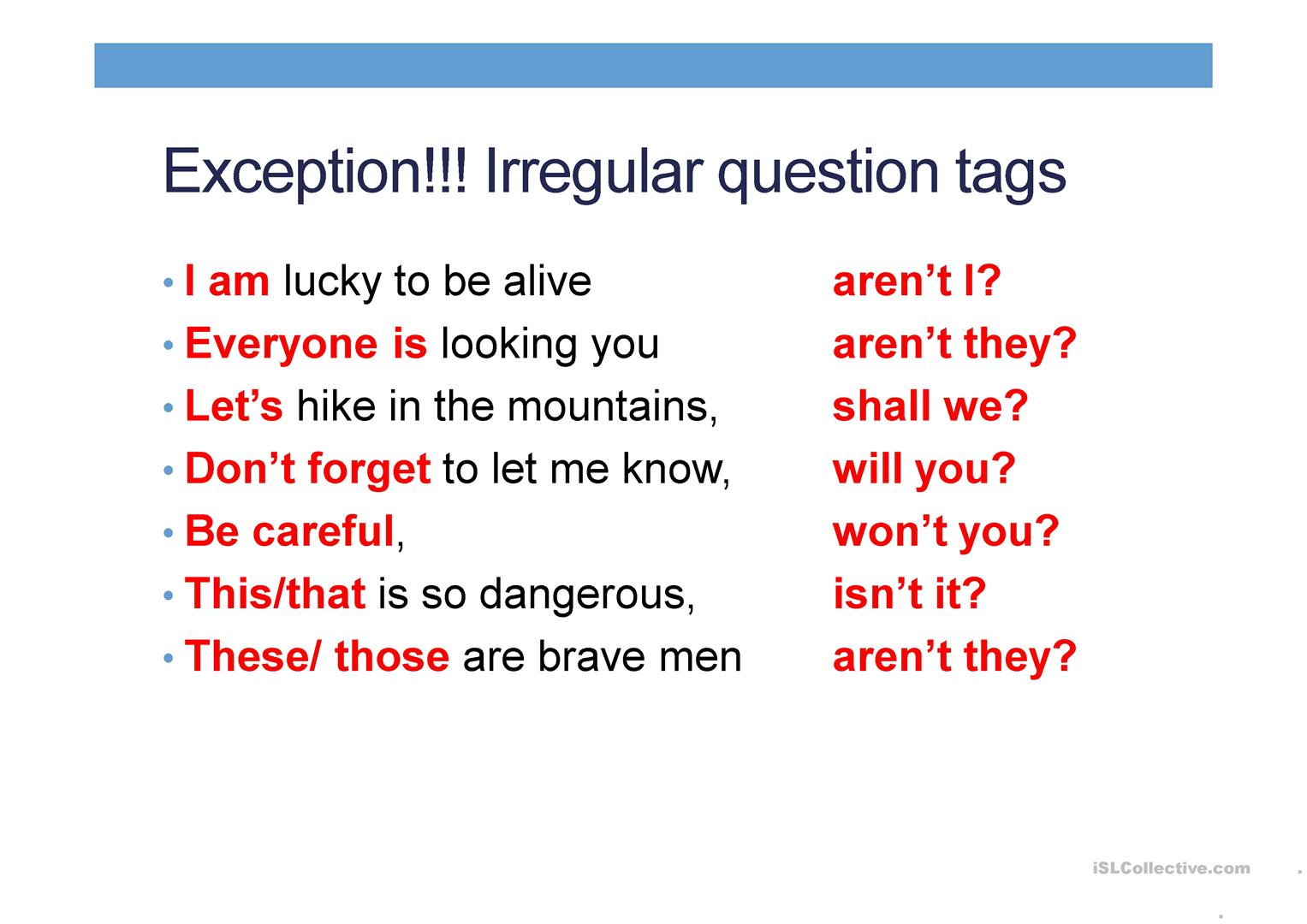 Kinds Of Questions Tag Questions Subject And Object