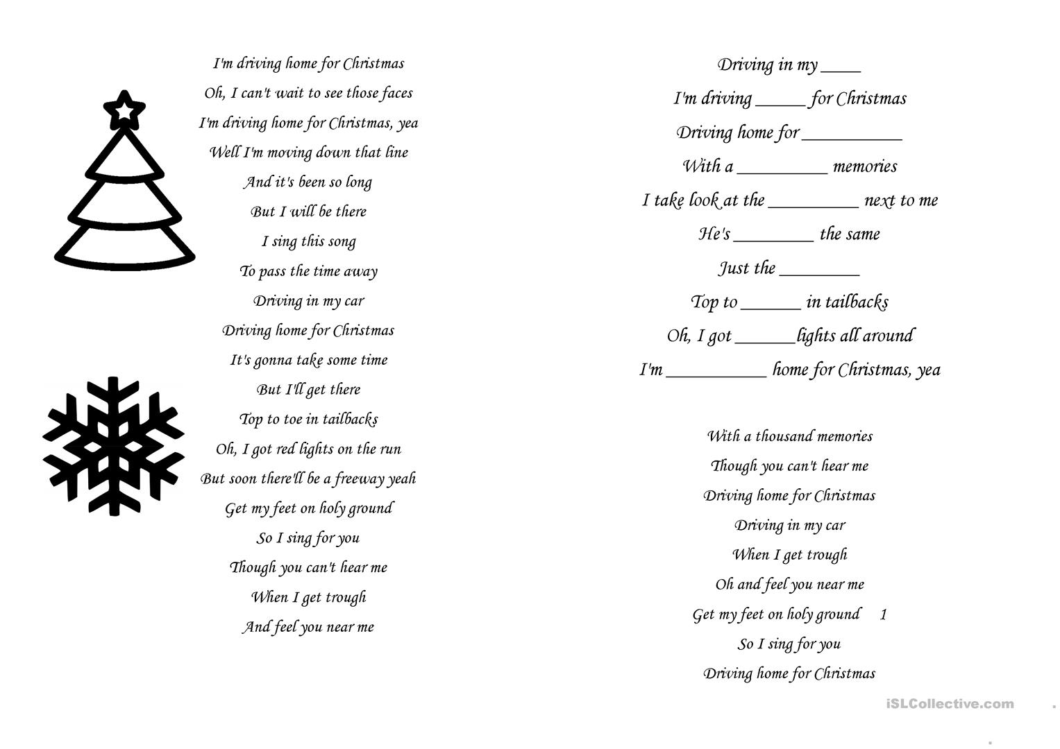 Christmas Activities Driving Home For Xmas Worksheet
