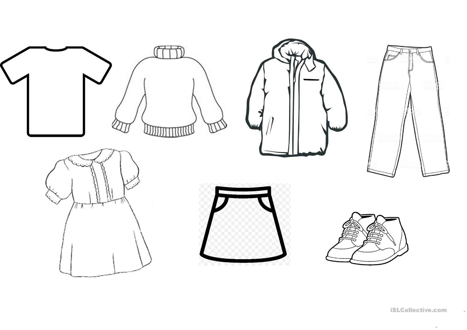 Clothes Sheet To Colour For Preschoolers Worksheet
