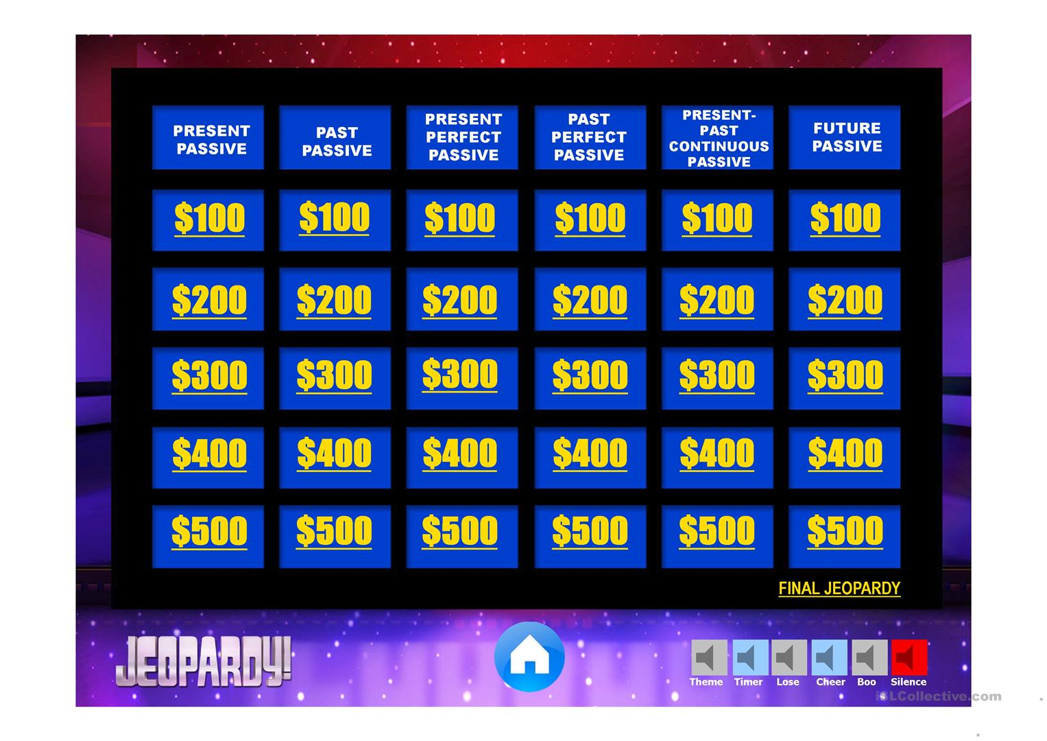 Passive Review Jeopardy Game