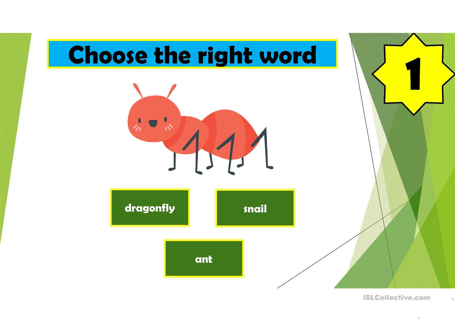Insects A Pptx Game Worksheet