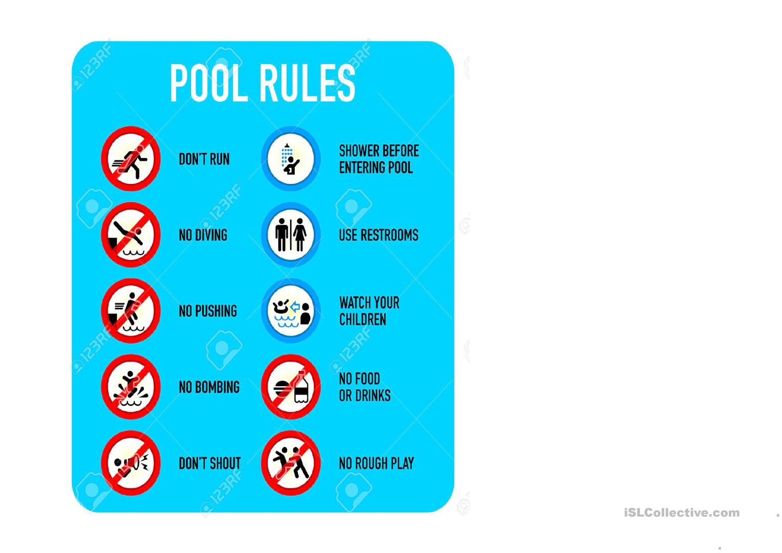 Must Mustn T Swimming Pool Rules