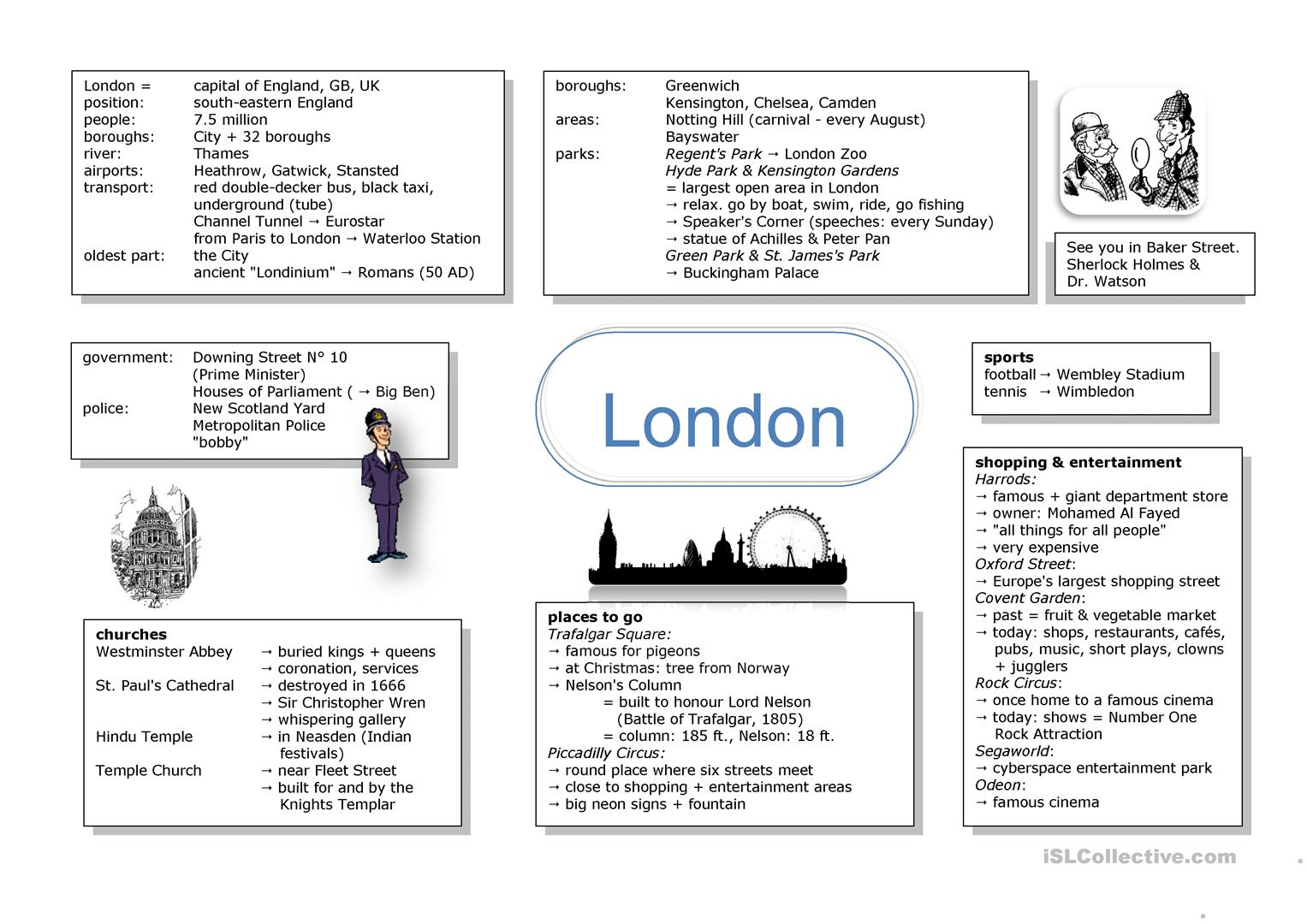 Mind Map London Worksheet