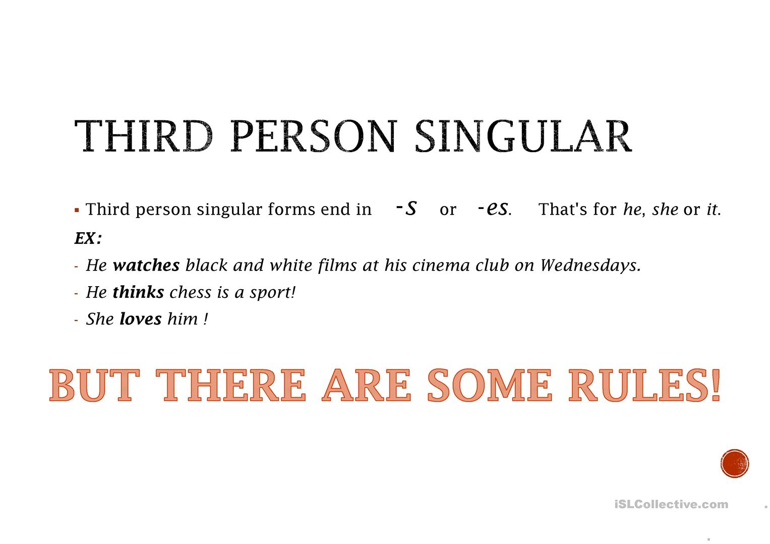 Present Simple Third Person Rule